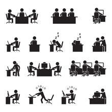 People Working On Computer And Laptop Icon Set. Vector.