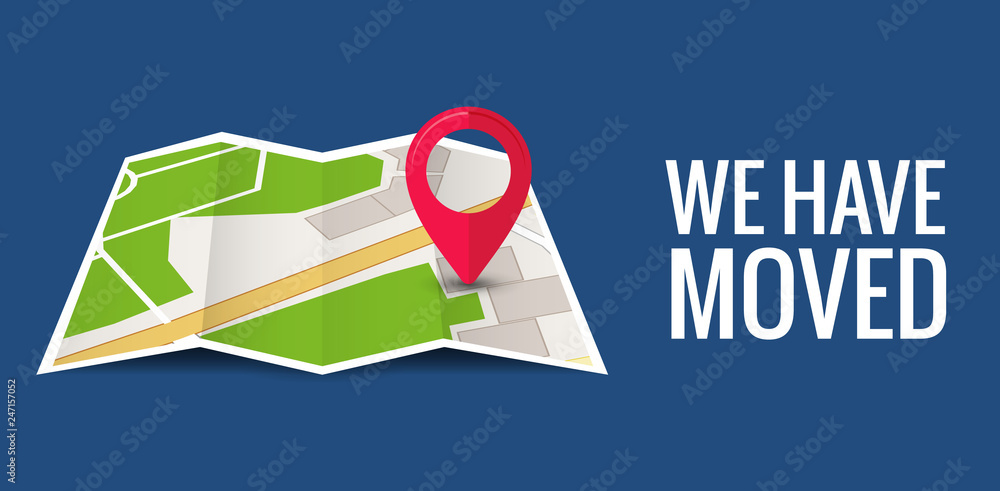 Fototapety, obrazy: We have moved new office icon location. Address move change location announcement business home map