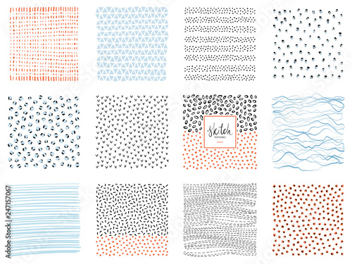 Fotografía  Set of abstract square backgrounds and sketch dots textures