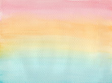 Horizontal Gradient From Blue To Orange And Pink Watercolor Background, Wash Technique. Bright Coral Sky And Turquoise Water Watercolour Textured Concept