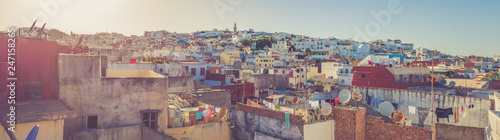 Wall Murals Beige White houses on the mountain slope in royal town Tetouan near Tangier, Morocco