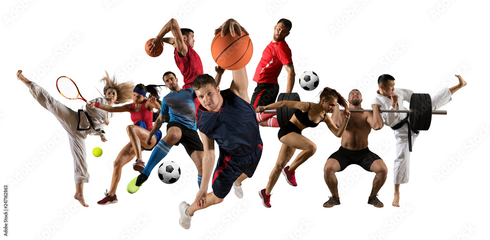 Fototapety, obrazy: Huge multi sports collage taekwondo, tennis, soccer, basketball, football