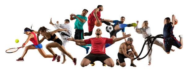 Huge multi sports collage taekwondo, tennis, soccer, basketball, football