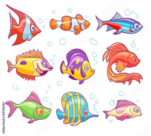 Obraz na plátně Cartoon fishes