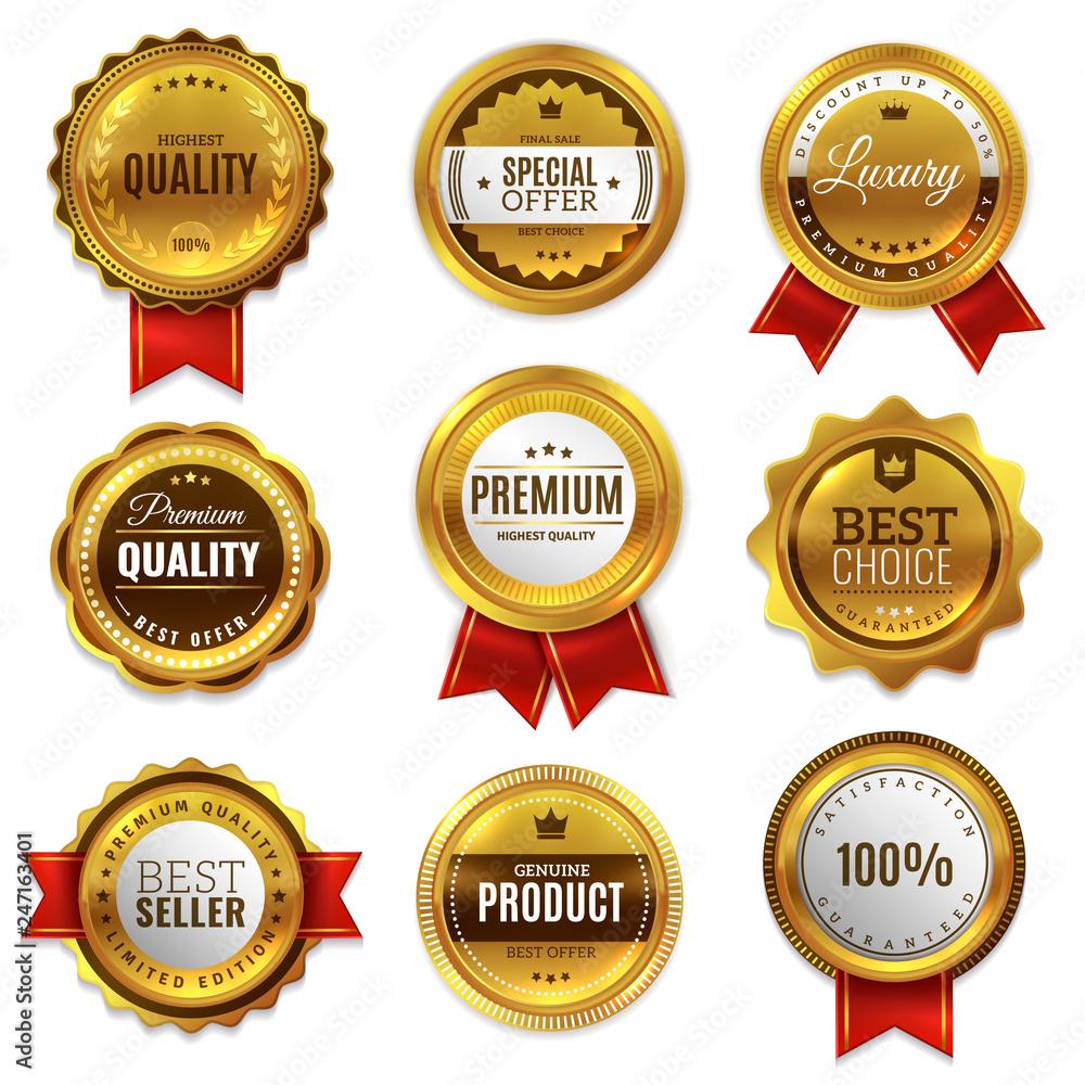 Fototapeta Gold badges seal quality labels. Sale medal badge premium stamp golden genuine emblem guarantee round vector set