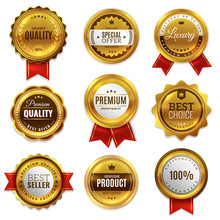 Gold Badges Seal Quality Labels. Sale Medal Badge Premium Stamp Golden Genuine Emblem Guarantee Round Vector Set