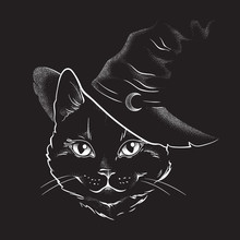 Black Cat With Pointy Witch Hat Line Art And Dot Work. Wiccan Familiar Spirit, Halloween Or Pagan Witchcraft Theme Tapestry Print Design Vector Illustration.