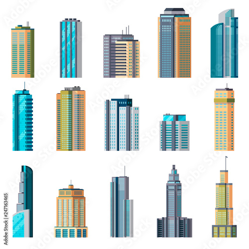 Buildings and modern city houses. Building business office apartment exterior flat home tall glass skyscraper town set Wall mural
