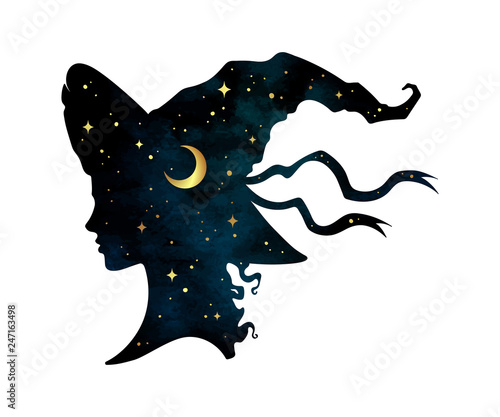Obraz na plátně Silhouette of beautiful curly witch girl in pointy hat with crescent moon and stars in profile isolated hand drawn vector illustration