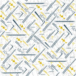 Seamless geometric abstract pattern with strokes, segments and golden triangles for shirt fabric. Trend print for fabric and paper.