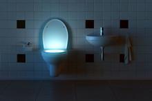 Toilette Leuchtet Von Innen