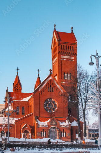 Roman Catholic Church the Red Church of St Simon and Alena Canvas Print