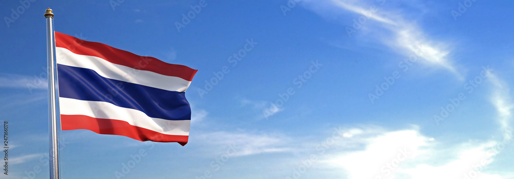 Fototapety, obrazy: Flag of Thailand rise waving to the wind with sky in the background