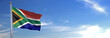 canvas print picture - Flag of South Africa rise waving to the wind with sky in the background