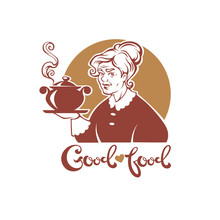 Good Food, Vector Portrait Of Lovely Grandmother And Home Made Soup