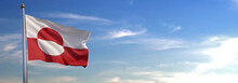 Flag Of Greenland Rise Waving To The Wind With Sky In The Background