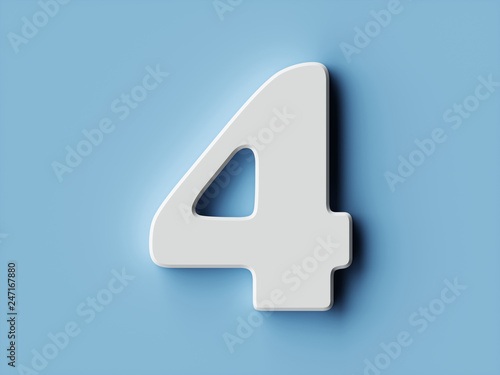 Fotografía White paper digit alphabet character 4 four font