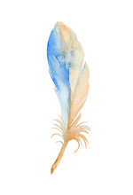Stylized Blue Feather Of Common Kingfisher. Watercolor Illustration.