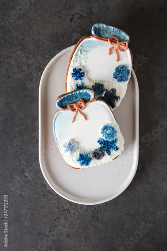 New Year's gingerbread with snow. Christmas holiday. Background