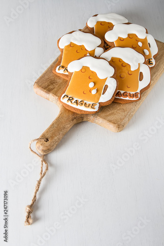 Gingerbread in the form of beer for a man. background