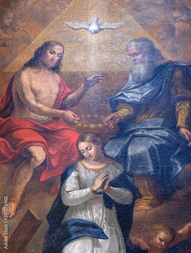 Obraz na plátne Coronation of the Virgin Mary altarpiece in the Cathedral of St Nicholas in the