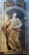 Saint Agnes Of Rome, Fresco In The St Nicholas Cathedral In Ljubljana, Slovenia