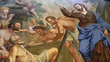Jesus Miracles - Raising Lazarus, Fresco In The St Nicholas Cathedral In The Capital City Of Ljubljana, Slovenia