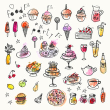 Hand Drawn Ink And Watercolor Stain Doodle Food Set. Design Elements For Party Invitation Or Menu Background
