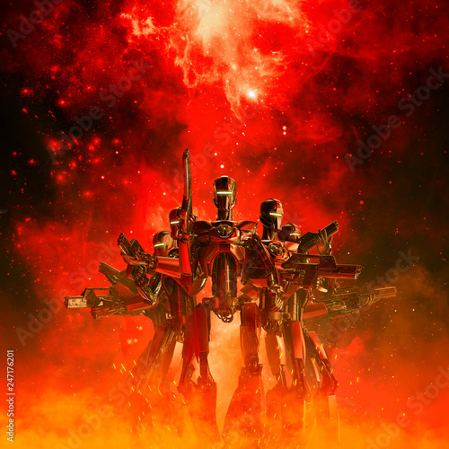Fototapeta In the heat of battle / 3D illustration of science fiction scene with military r