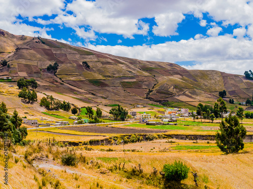 Poster Zuid-Amerika land Ecuador, scenic andean landscape between Zumbahua canyon and Quilotoa lagoon with peasant village and cultivated fields