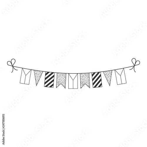 Fotografie, Obraz  Decorations bunting flags for Czech Republic national day holiday in black outline flat design