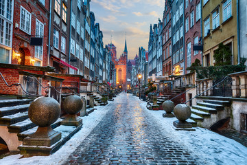 Mariacka Street of Gdansk, night winter view, Poland