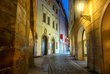 Old Historic Prague Street At Night With Old Lamps