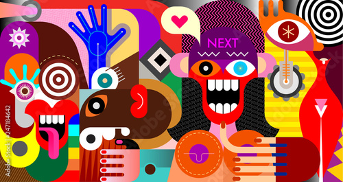 Poster Abstractie Art Social Networking People vector illustration