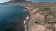 Aerial video of the waves on the beach ON THE MEDITERRANEAN COAST IN CABO DE GATA, SPAIN