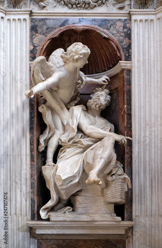 Habakkuk and the Angel marble statue by Lorenzo Bernini in The Chigi chapel in C Canvas Print