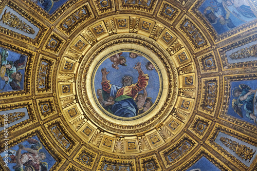 Mosaic of God the Father in the top of cupola in Chigi chapel by Luigi de Pace i Poster Mural XXL