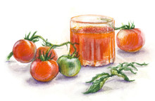 Watercolor Glass Of Juice  And Tomatoes