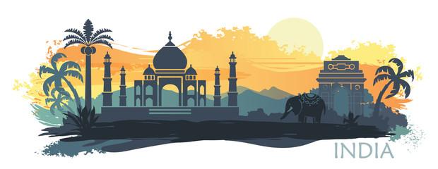 Stylizowany krajobraz Indii z Taj Mahal, słoniem i tancerzem. Tło wektor