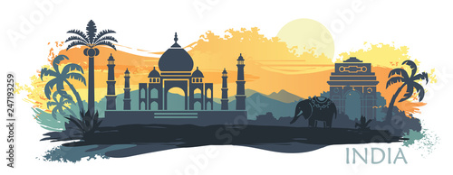 Stylized landscape of India with the Taj Mahal, an elephant and a dancer. Vector background