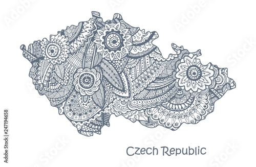 Textured vector map of Czech Republic Tablou Canvas