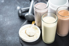 Protein Cocktails In Glasses, Sport Nutrition.