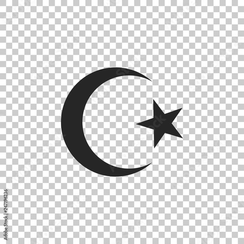 Star and crescent - symbol of Islam icon isolated on