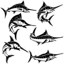 Set Of Marlin, Swordfish Illustrations. Design Element For Logo, Label, Emblem, Sign, Badge.