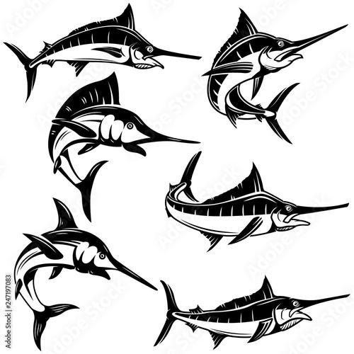 Fotografie, Obraz Set of marlin, swordfish illustrations