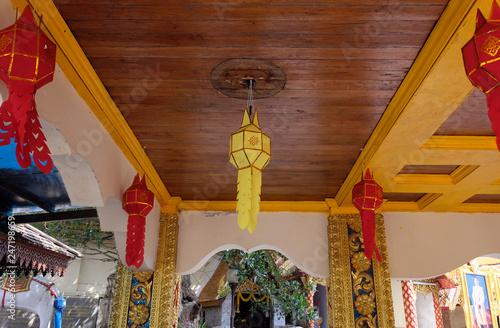 Fotografie, Obraz  29 January 2019 : Colorful Paper Lantern or Yee Peng Lantern, Traditional Lantern of Northern Thailand,Hanging Lantern in Thai temple and Thai Home, Thai Lanna style
