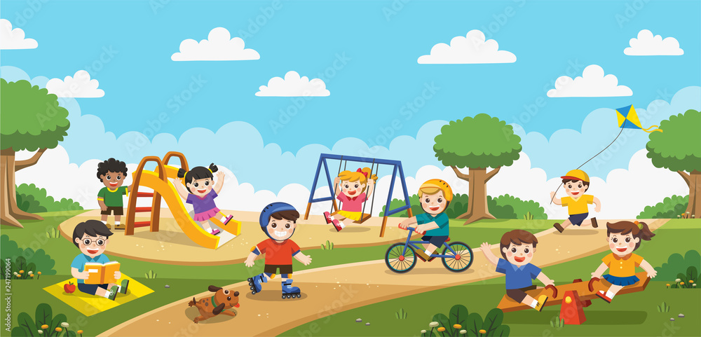 Fototapety, obrazy: Happy excited kids having fun together on playground. Children play outside with rainbow background. Vector illustration.