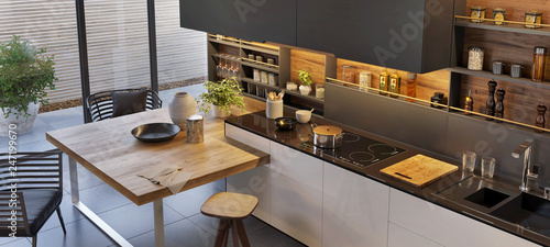 Modern luxury kitchen interior design Tableau sur Toile