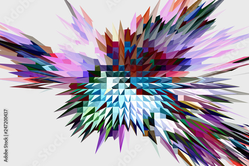 Fractal image: fancy abstract drawing, light background. - 247200437