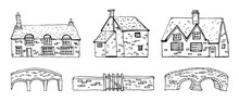 Old English Village Vector Sketch Hand Drawn Illustration. Set Of Cartoon Outline Houses Facades And Bridges Isolated On White Background